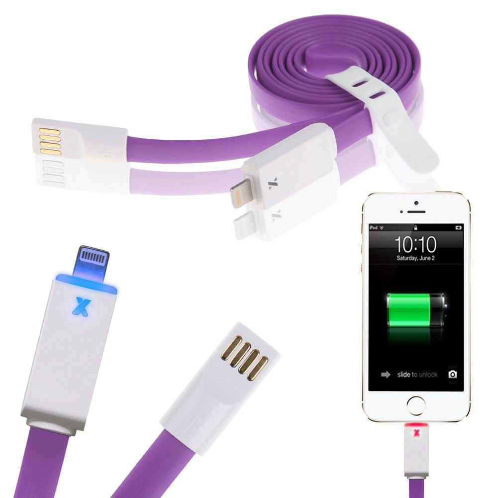 LED Flat USB Charger Charging Sync Data Cable for iPhone 5 5S 5C 6 6Plus iPod ( COLOR PURPLE
