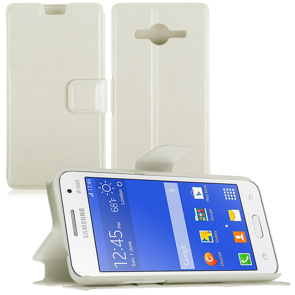 Flip PU Leather Wallet Case Cover Stand for Samsung Galaxy Core 2 Dual SIM G355H (COLOR WHITE