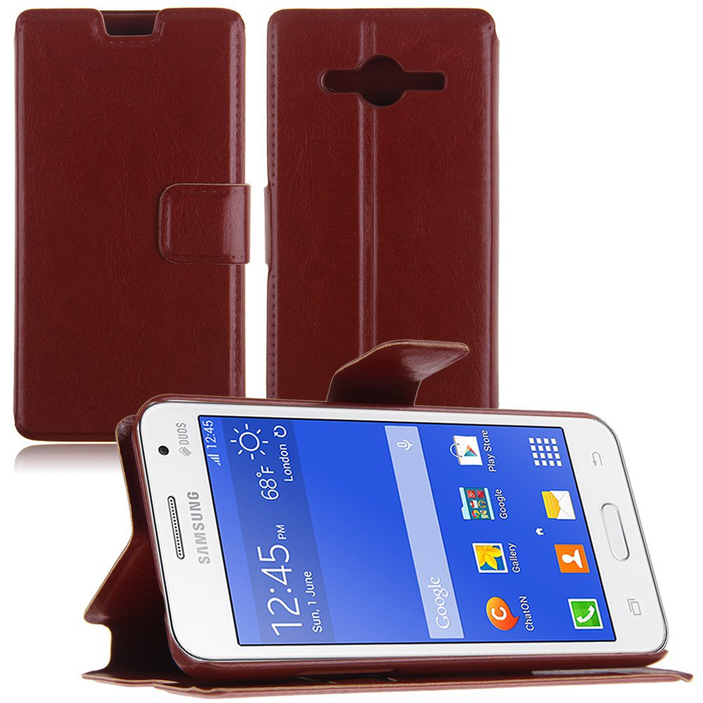 Flip PU Leather Wallet Case Cover Stand for Samsung Galaxy Core 2 Dual SIM G355H (COLOR BROWN