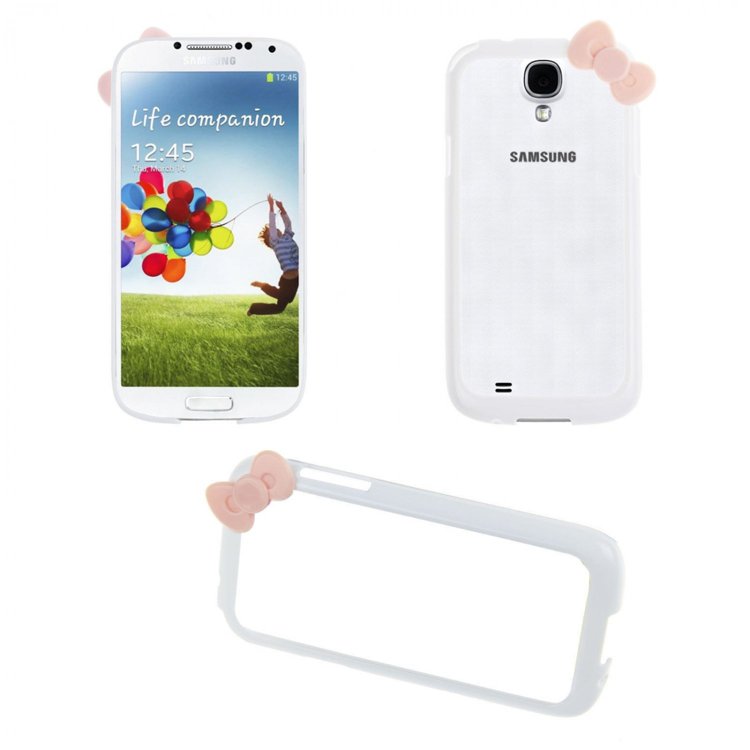 Bowknot Hard PC Bumper Frame Cover Case for Samsung Galaxy S4 SIV i9500(COLOR WHITE