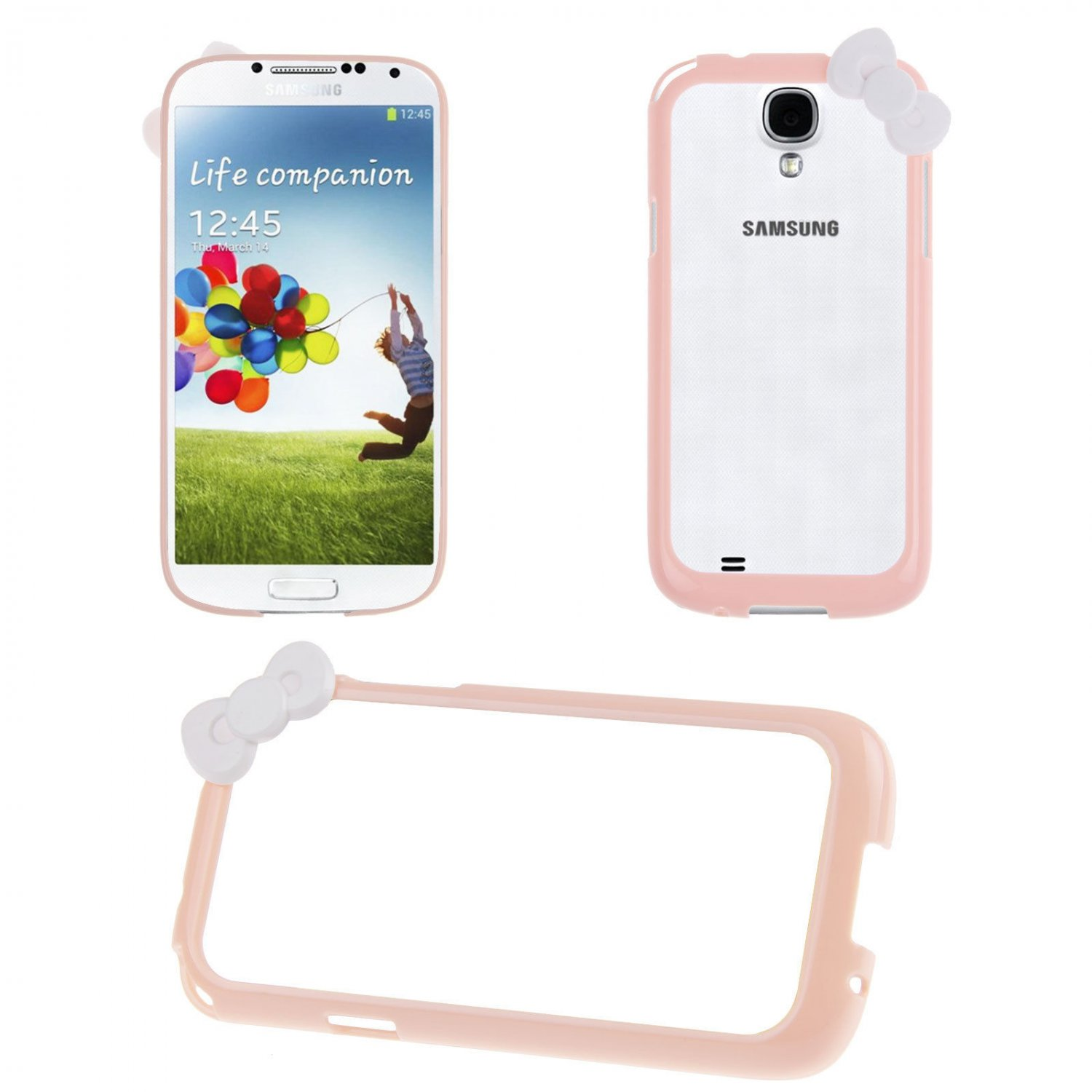 Bowknot Hard PC Bumper Frame Cover Case for Samsung Galaxy S4 SIV i9500(COLOR PINK