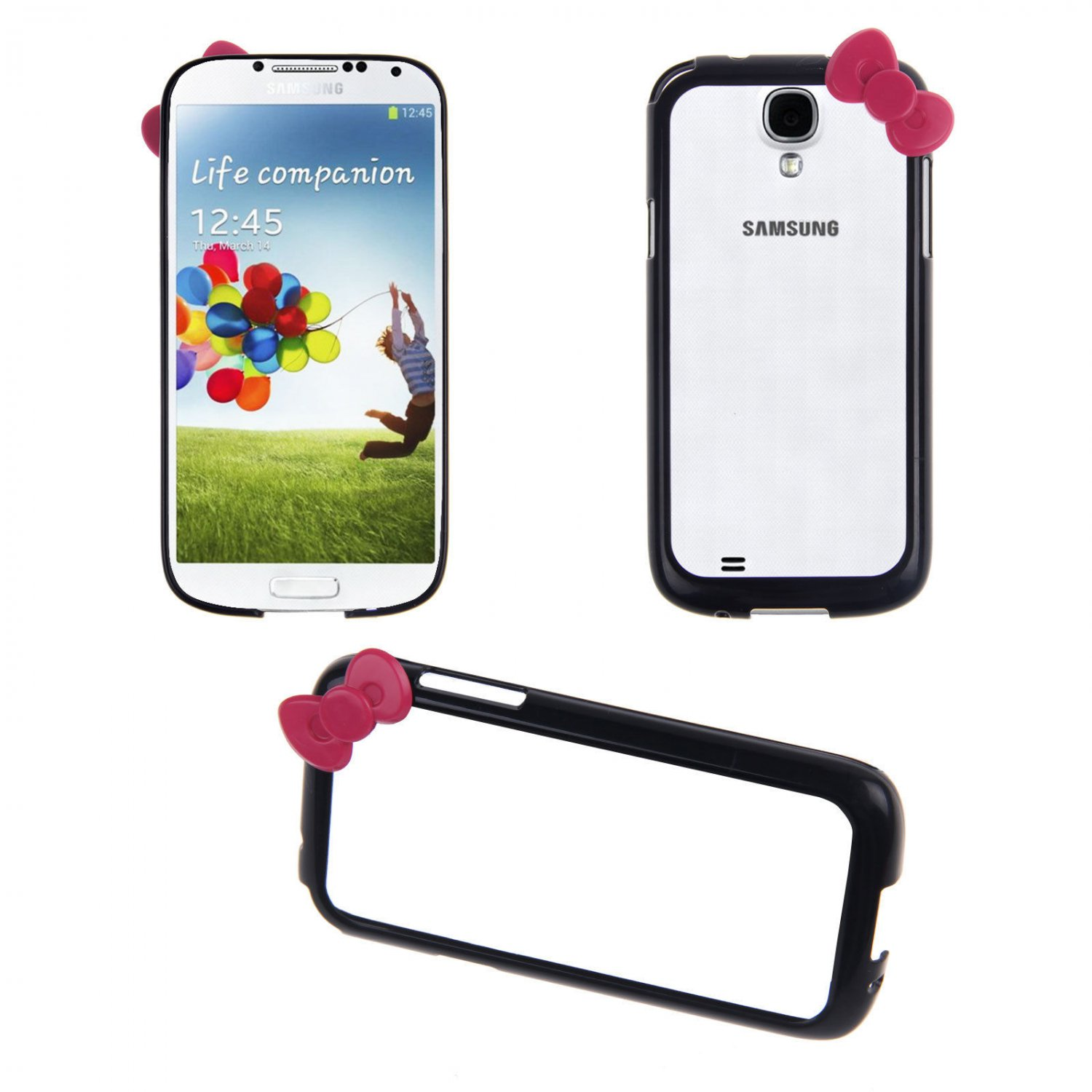 Bowknot Hard PC Bumper Frame Cover Case for Samsung Galaxy S4 SIV i9500(COLOR BLACK