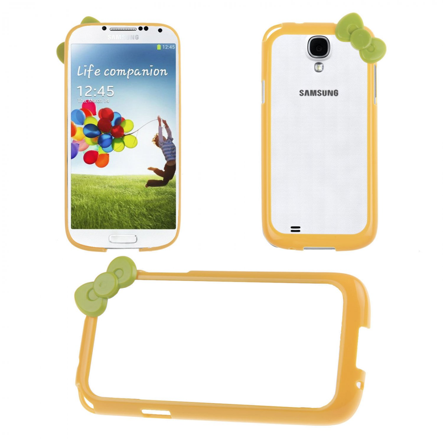 Bowknot Hard PC Bumper Frame Cover Case for Samsung Galaxy S4 SIV i9500(COLOR YELLOW