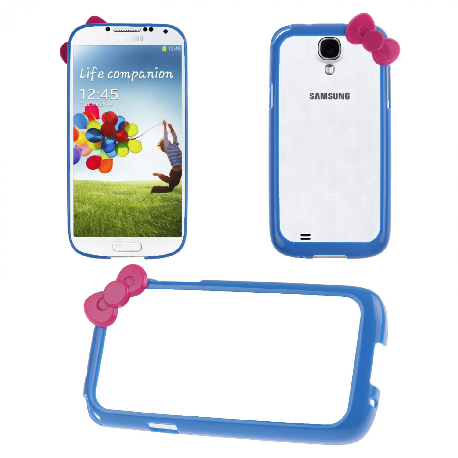 Bowknot Hard PC Bumper Frame Cover Case for Samsung Galaxy S4 SIV i9500(COLOR DARK BLUE
