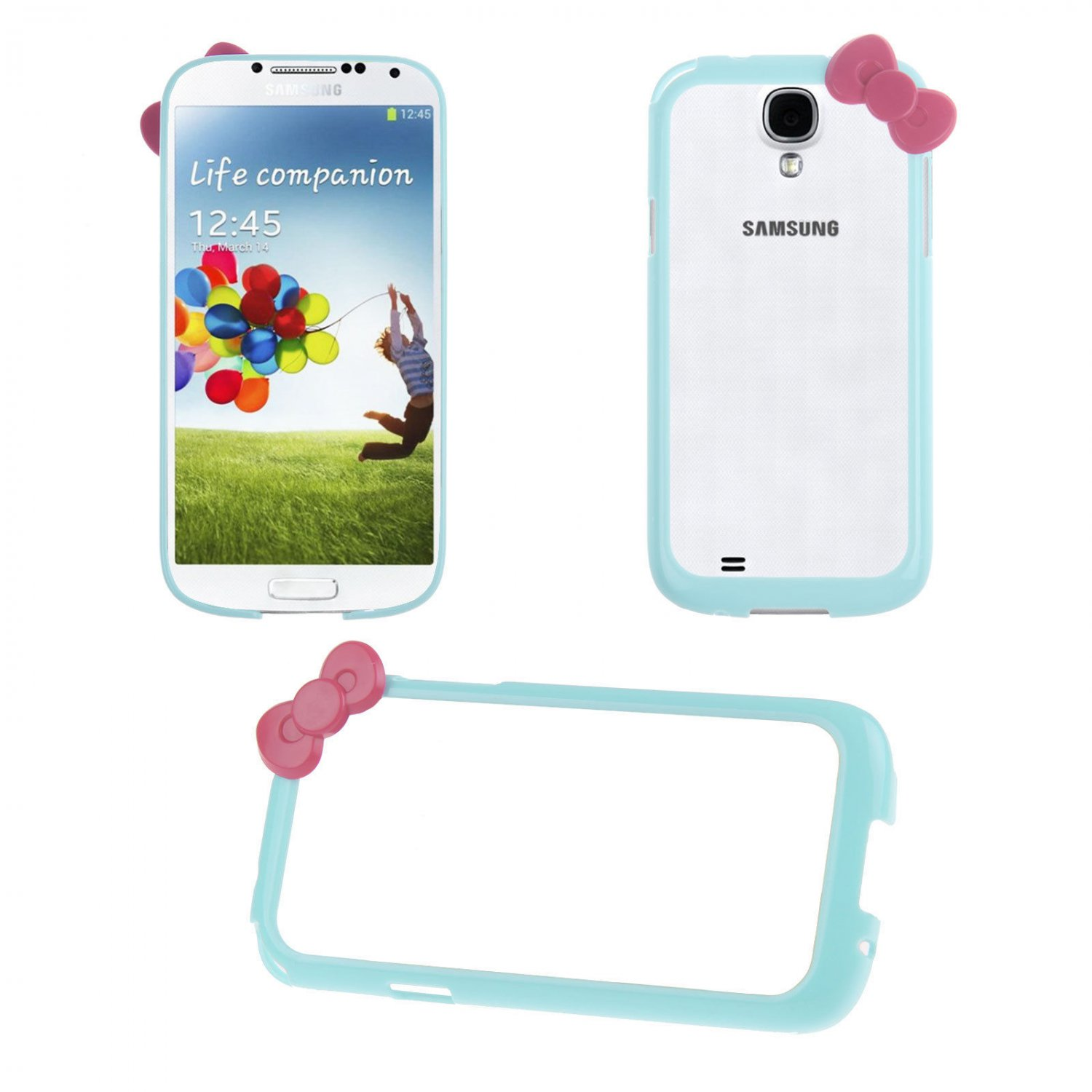 Bowknot Hard PC Bumper Frame Cover Case for Samsung Galaxy S4 SIV i9500(COLOR LIGHT BLUE