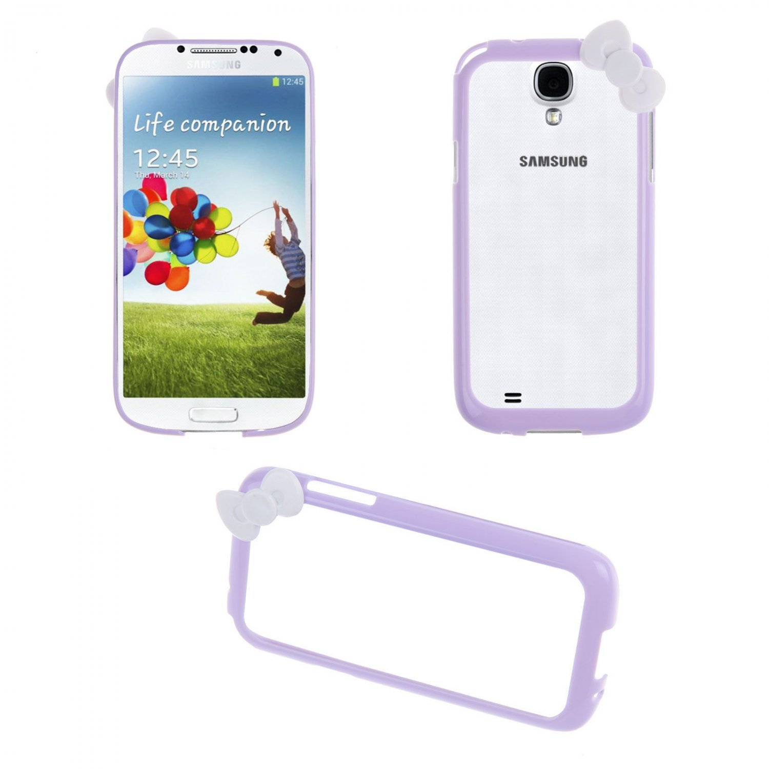 Bowknot Hard PC Bumper Frame Cover Case for Samsung Galaxy S4 SIV i9500(COLOR PURPLE