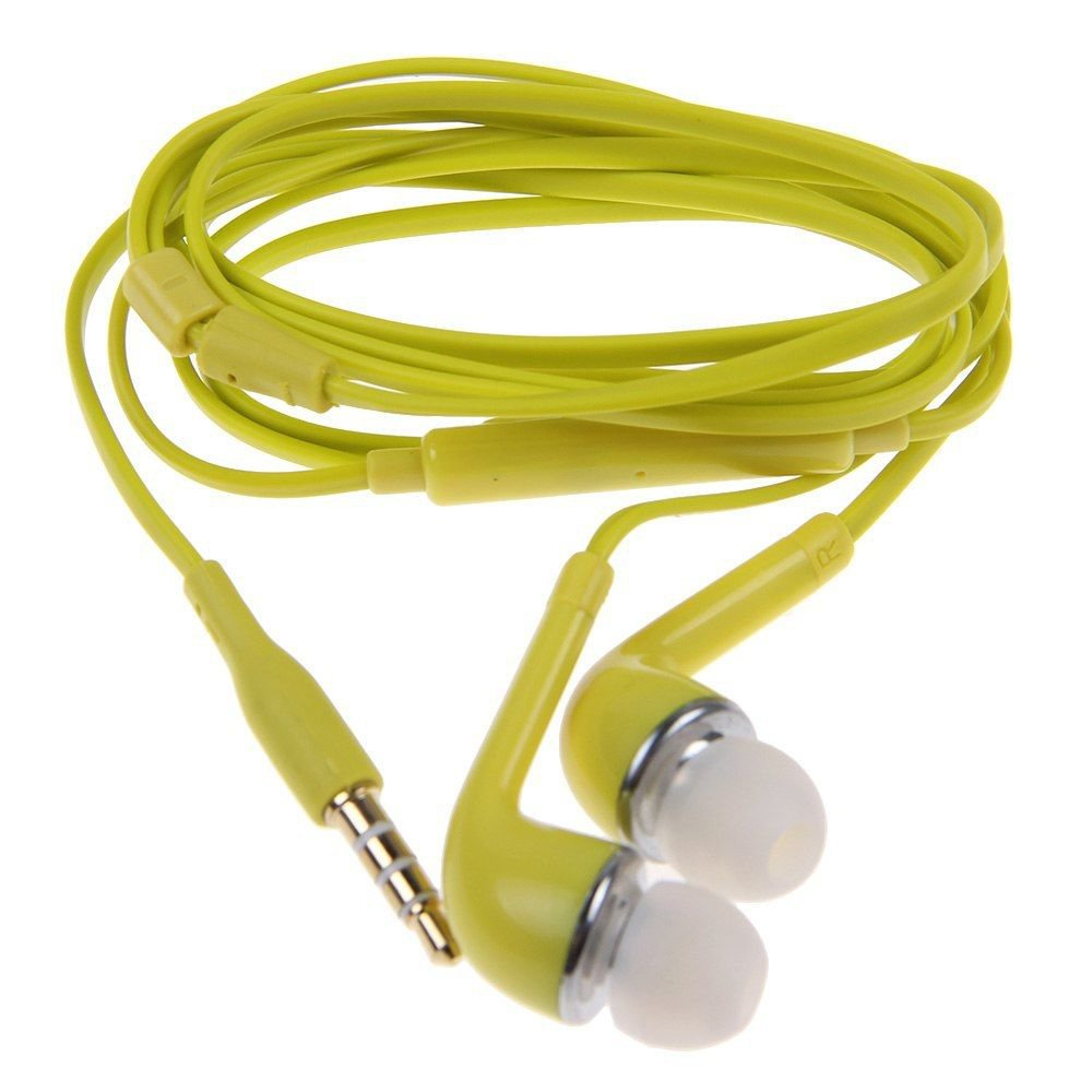 3.5mm Stereo In-ear Headphone Earphone Headset w/ Volume Control Mic for Samsung( COLOR YELLOW
