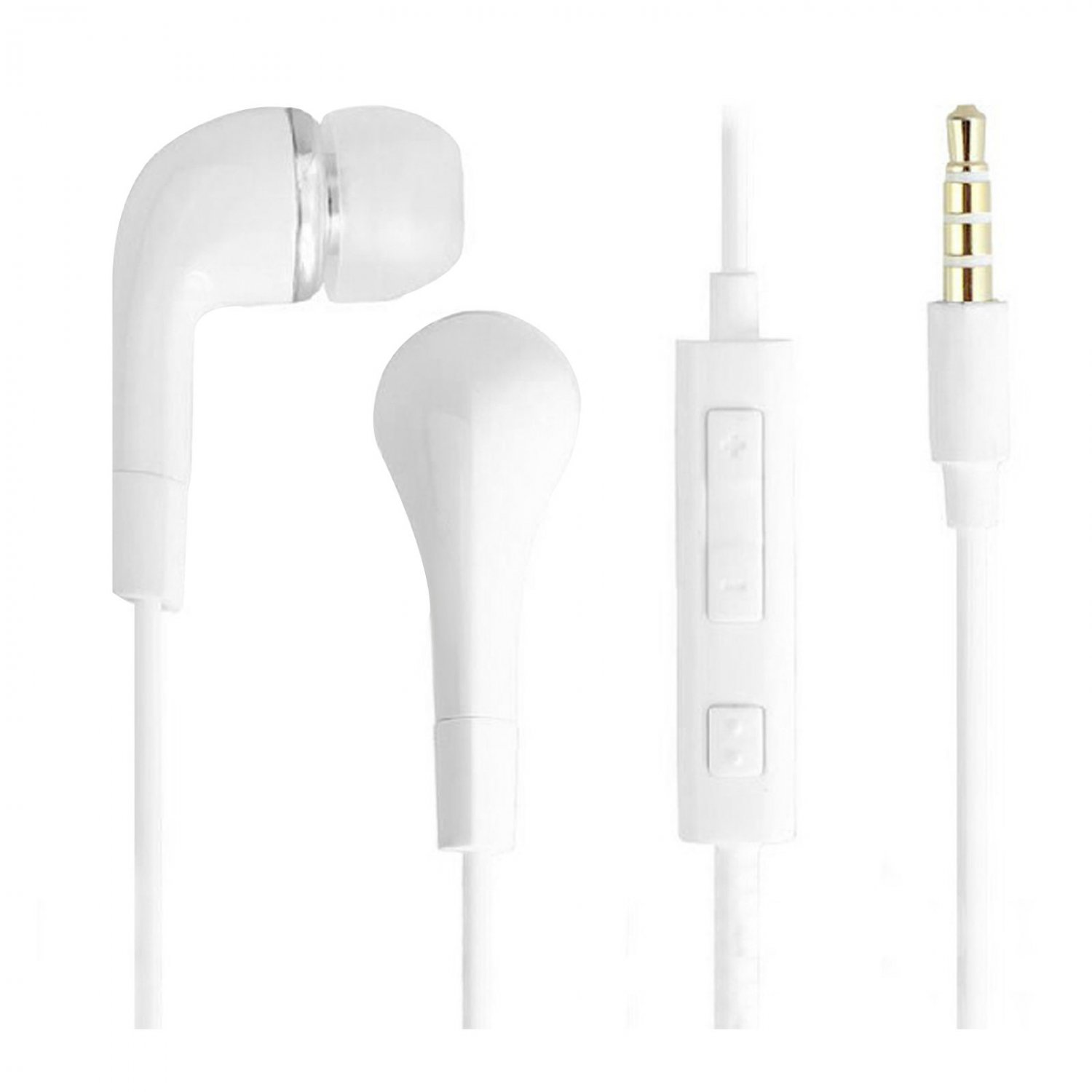 3.5mm Stereo In-ear Headphone Earphone Headset w/ Volume Control Mic for Samsung( COLOR WHITE