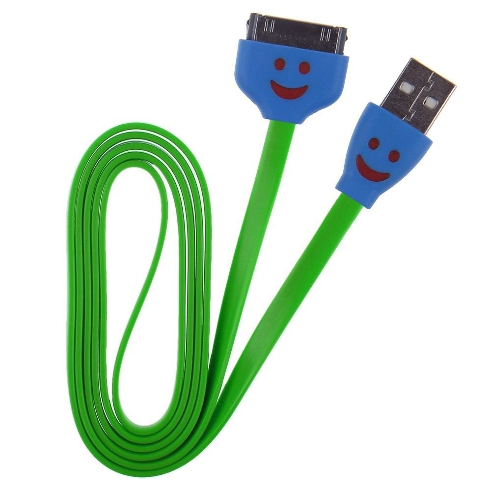 LED Smile Face USB Data Sync Charger Flat Cable Cord 1M 3ft for iPhone 4 4S iPod ( COLOR GREEN