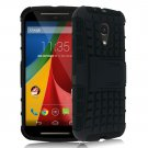 Hybrid Impact Armor Hard Stand Case Cover For Motorola Moto G2 2nd 2014 XT10681000 (COLOR BLACK
