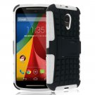 Hybrid Impact Armor Hard Stand Case Cover For Motorola Moto G2 2nd 2014 XT10681000 (COLOR WHITE