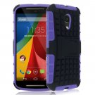 Hybrid Impact Armor Hard Stand Case Cover For Motorola Moto G2 2nd 2014 XT10681000 (COLOR PURPLE