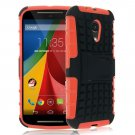 Hybrid Impact Armor Hard Stand Case Cover For Motorola Moto G2 2nd 2014 XT10681000 (COLOR ORANGE