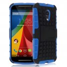Hybrid Impact Armor Hard Stand Case Cover For Motorola Moto G2 2nd 2014 XT10681000 (COLOR BLUE