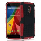 Hybrid Impact Armor Hard Stand Case Cover For Motorola Moto G2 2nd 2014 XT10681000 (COLOR RED