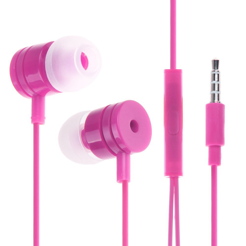 3.5mm In Ear Headphone Earphone Headset Earbud + Mic for iPhone iPod Samsung PC(COLOR ROSE
