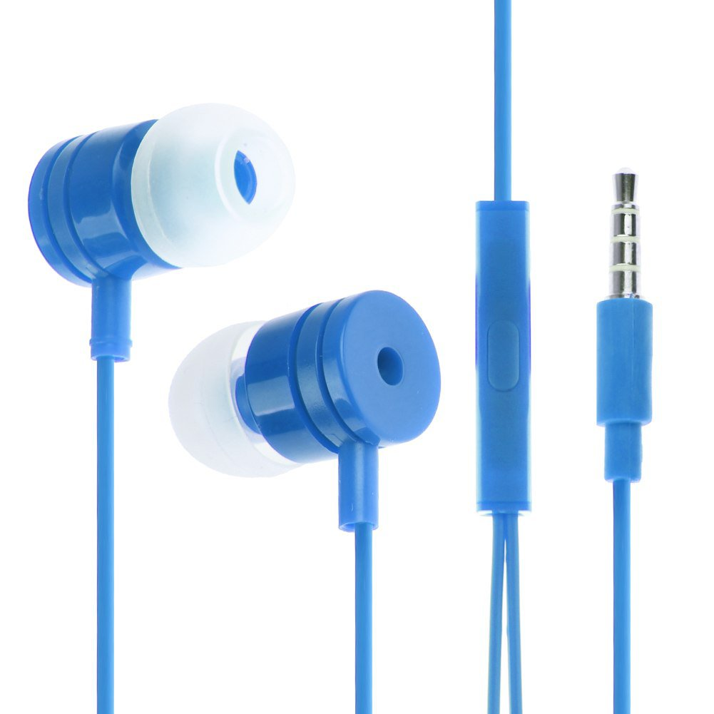 3.5mm In Ear Headphone Earphone Headset Earbud + Mic for iPhone iPod Samsung PC(COLOR DARK BLUE