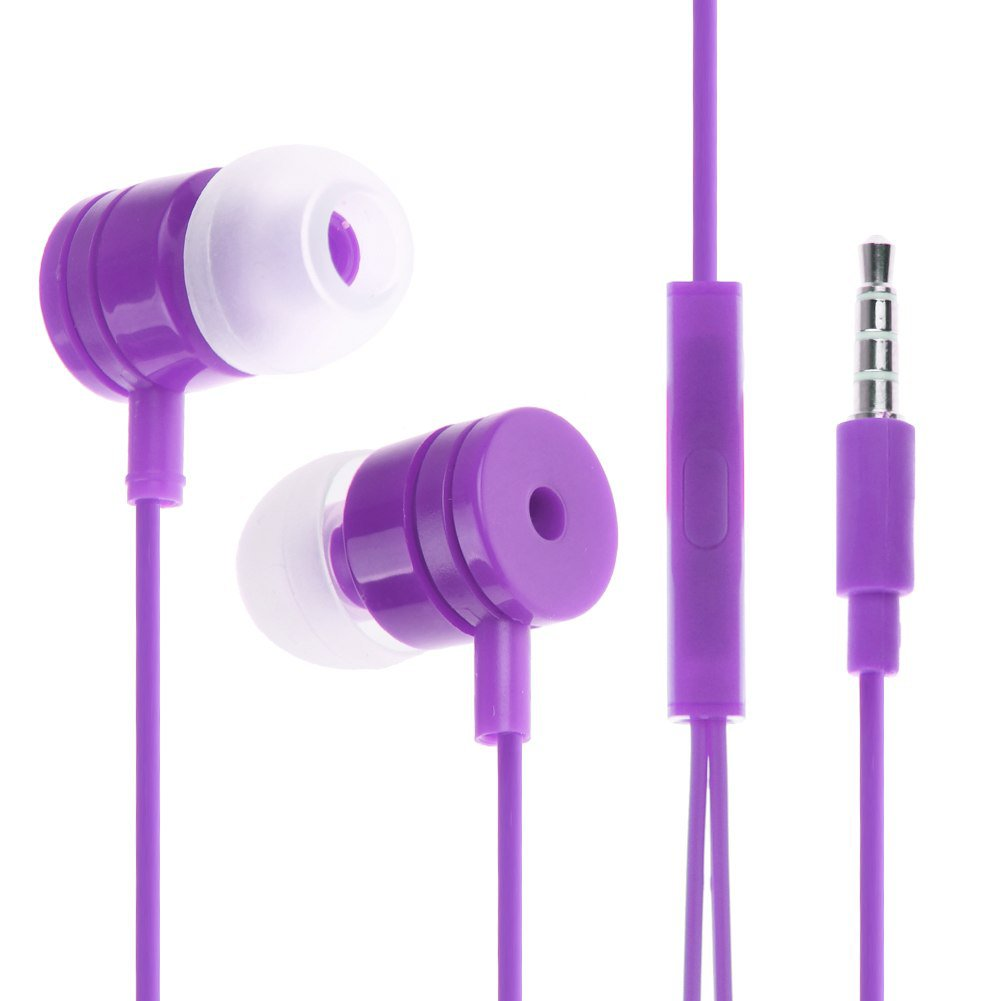 3.5mm In Ear Headphone Earphone Headset Earbud + Mic for iPhone iPod Samsung PC(COLOR PURPLE