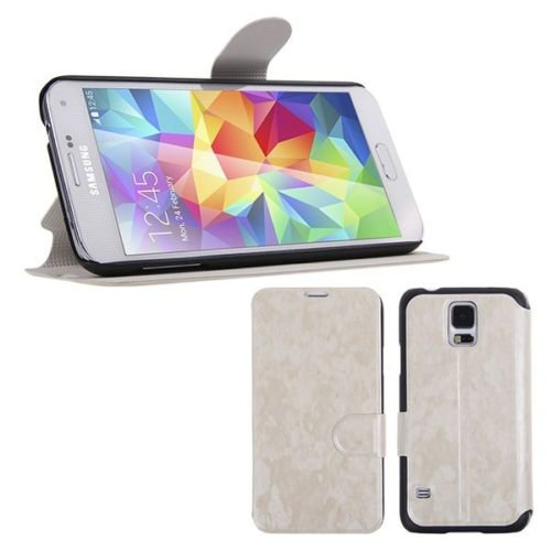 Magnetic Flip PU Leather Case Stand Cover Skin Pouch for Samsung Galaxy S5 G900 (COLOR WHITE
