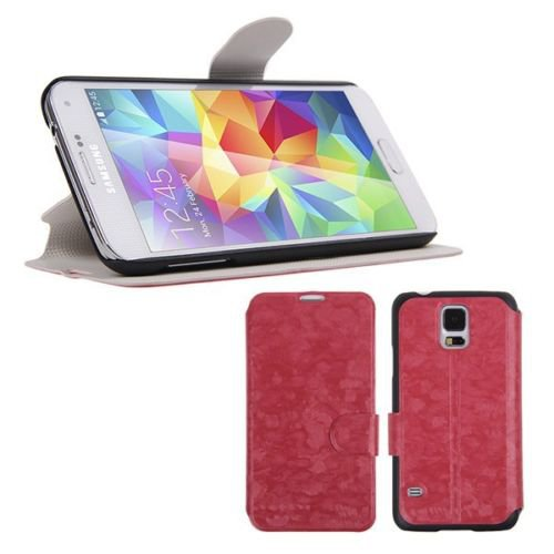 Magnetic Flip PU Leather Case Stand Cover Skin Pouch for Samsung Galaxy S5 G900 (COLOR RED