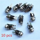 10pcs DC Power Supply Jack Socket Female Panel Mount Connector 5.5mm x 2.1mm