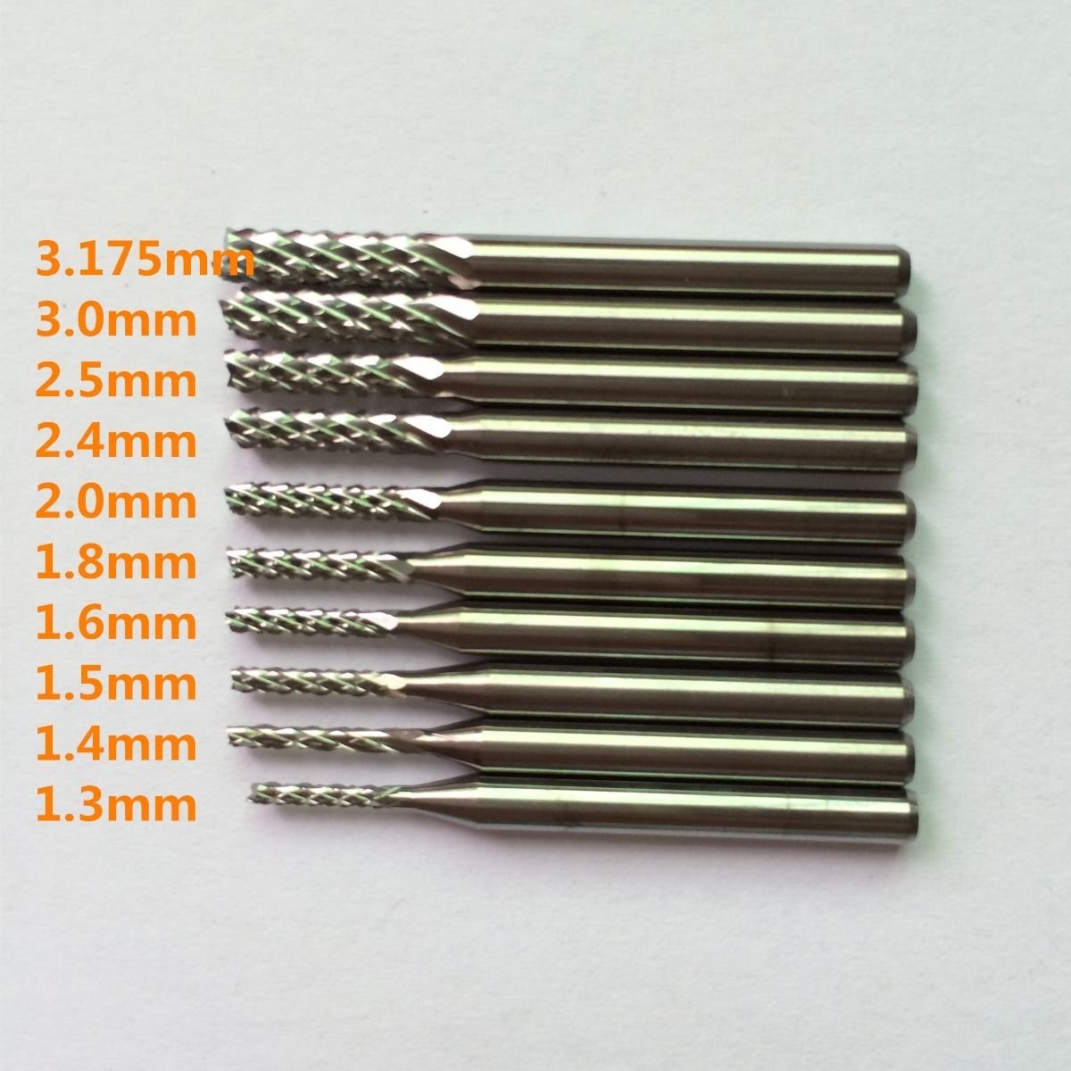 10pcs Carbide End Mill Engraving Bits for CNC PCB Rotary Burrs from1.3 to3.175mm