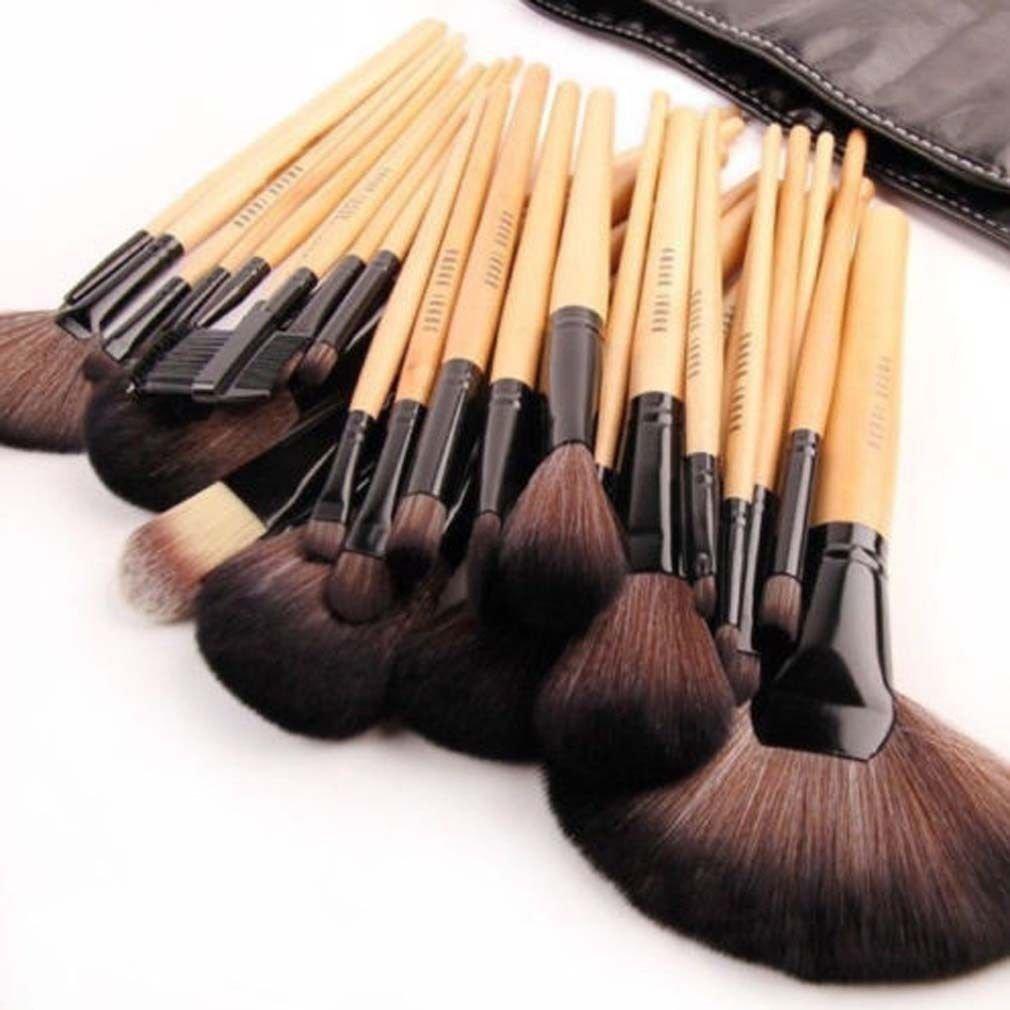 24 Pcs Makeup Brush Cosmetic Tool Kit Eyeshadow Powder Brush Set + Case DX