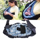 Baby Newborn Infant Adjustable Carrier Sling Wrap Rider Cotton Backpack (blue flower)