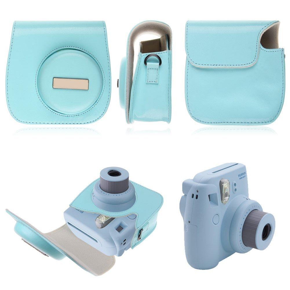PU LEATHER CAMERA CASE COVER SHOULDER BAG For Fuji Fujifilm Instax Mini8(color blue