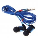 3.5mm In Ear Headphone Earphone Headset Earbud Flat Cable fr iPhone iPod Samsung(color blue