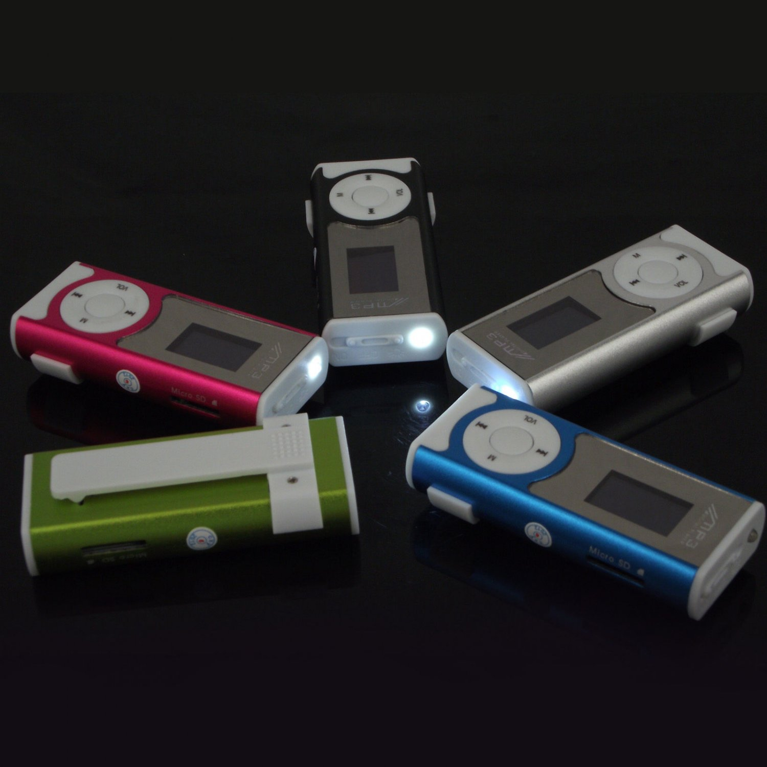 USB Mini Clip MP3 Player LCD Screen Support  Micro SD TF Card With LED Light(color green