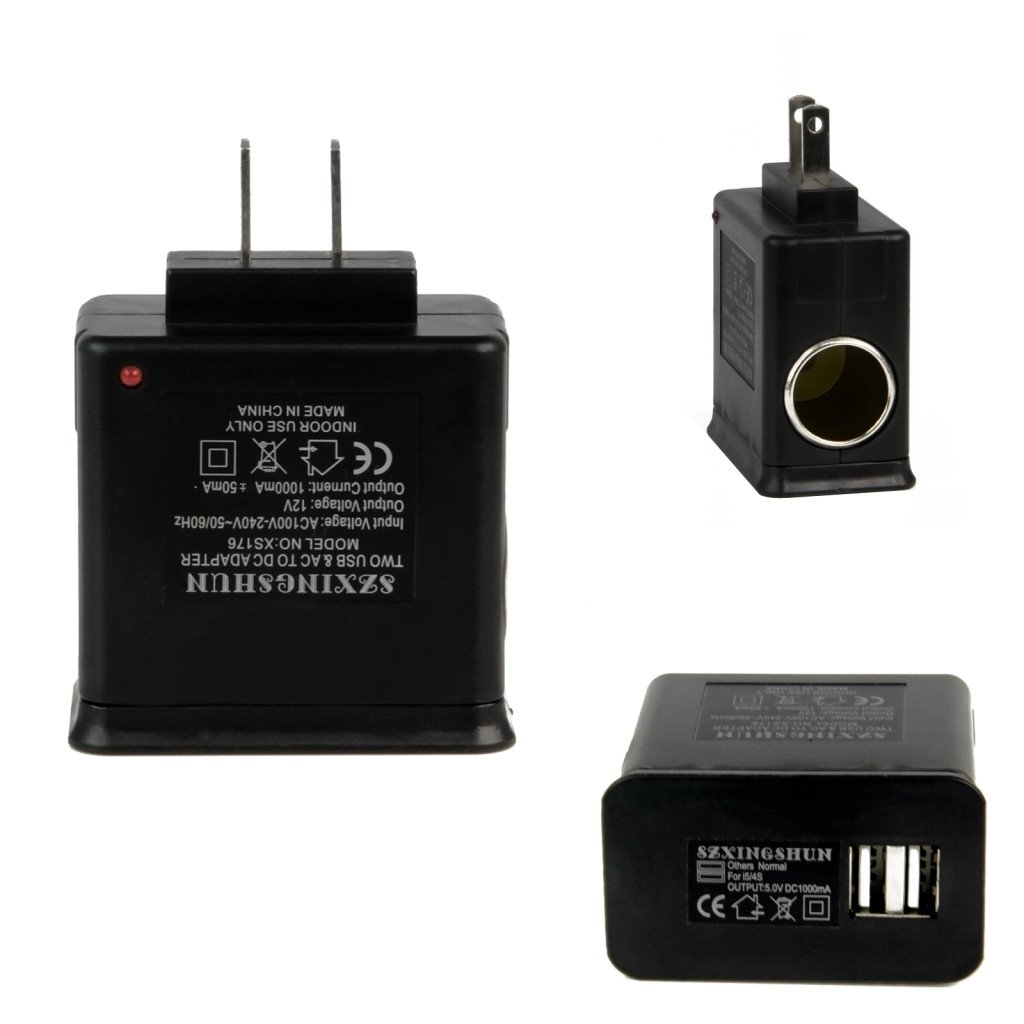 Universal 110V-240V AC Home Wall Power to DC Car Charger Adapter Converter+2 USB