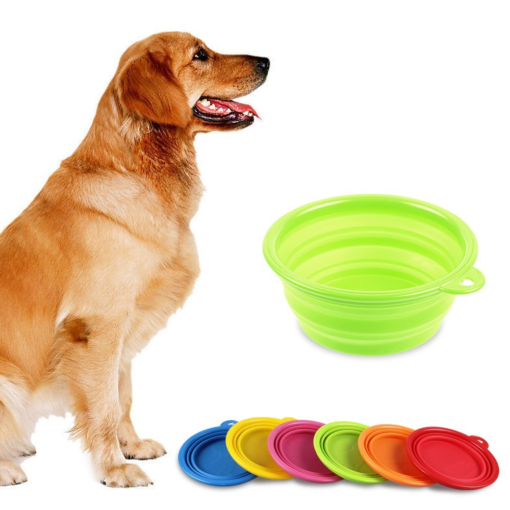 Pet Dog Cat Silicone Collapsible Fold-up Camping Travel Food Water Feeder Bowl