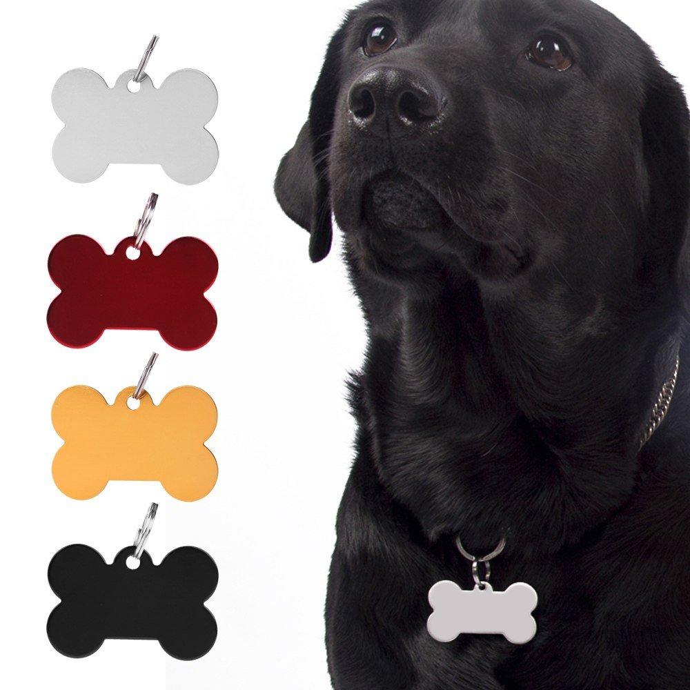 1X Engravable Custom Personalized Pet ID Tags Dog Cat Animal Name Bone Tag w/ Ring