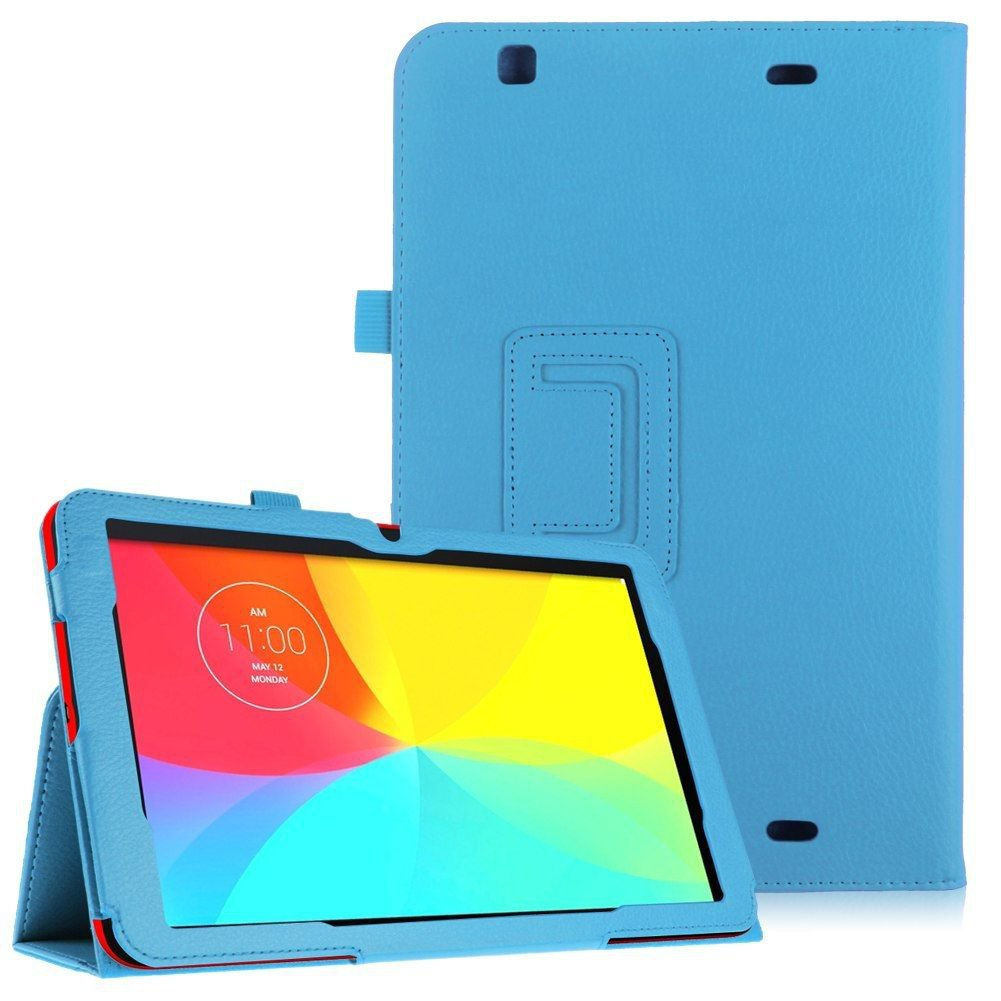 Luxury Magnetic Folio PU Leather Case Cover Stand for LG G Pad 10.1 V700 Tablet( color sky blue