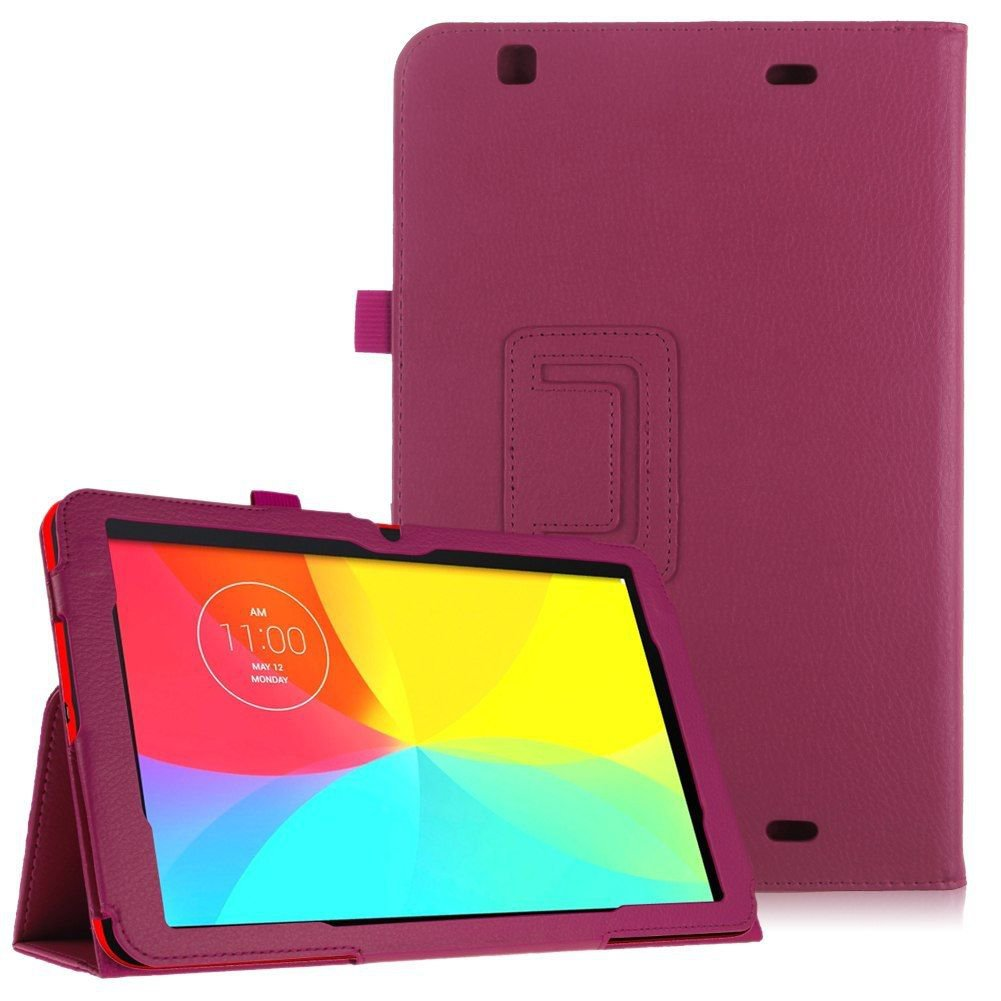 Luxury Magnetic Folio PU Leather Case Cover Stand for LG G Pad 10.1 V700 Tablet( color rose pink