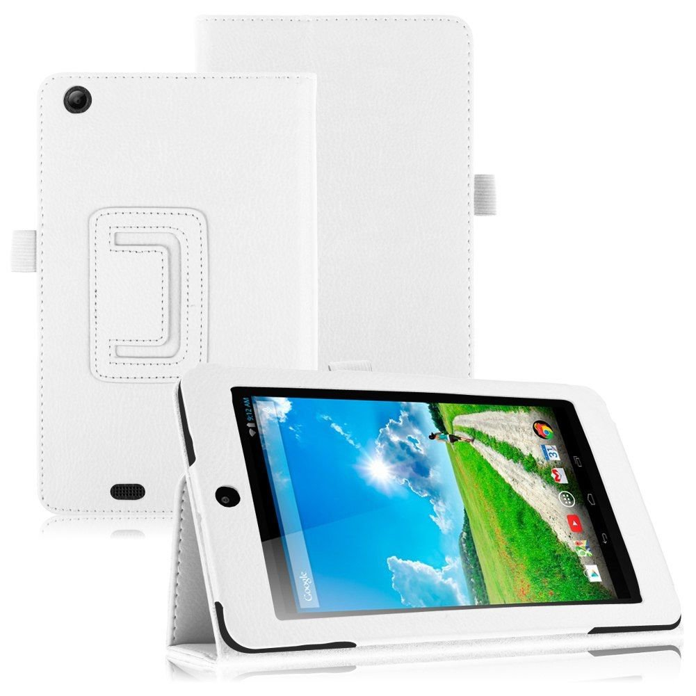 Folio PU Leather Case Cover Stand for Acer Iconia One 7 B1-730HD Tablet( color white