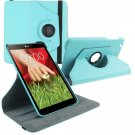 """360 Rotating Folio Leather Case Cover Stand for LG G Pad Gpad 8.3"""" V500 Tablet( color light blue"""