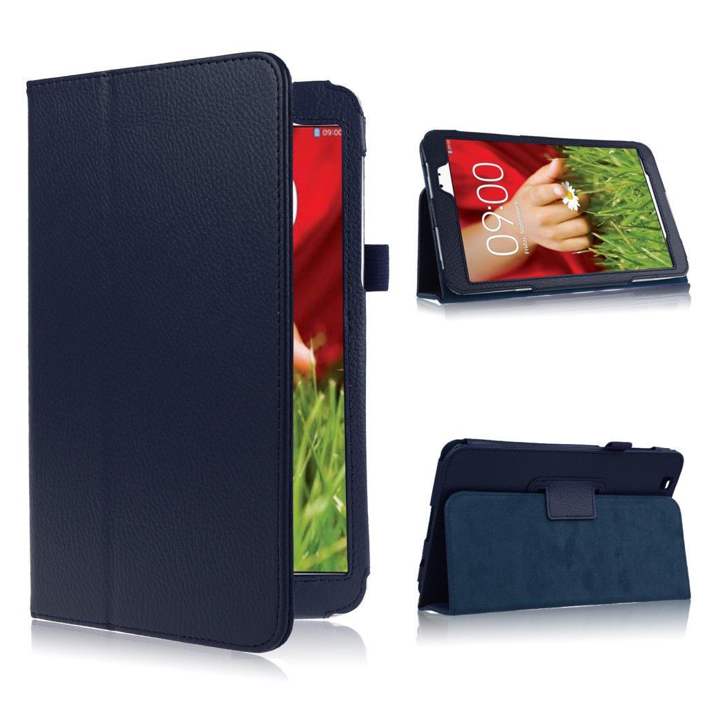 """Folding Folio PU Leather Case Cover w/ Stand for LG G Pad 8.3"""" V500 Tablet PC   (color blue"""
