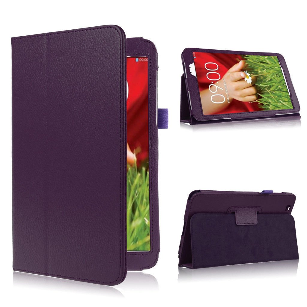 "Folding Folio PU Leather Case Cover w/ Stand for LG G Pad 8.3"" V500 Tablet PC   (color purple"