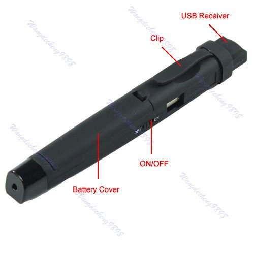 Wireless USB Remote Control Presentation Clip Red Infrared Laser Pointer Pen (AS3)
