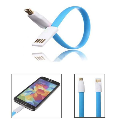 22CM Magnet Flat Short 5Pin Micro USB Data Charger Cable Cord For Samsung HTC L (COLOR BLUE
