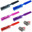 2X Salon Hairdressing Razor Comb - Hair Scissor Cut Thinning Feathering + 10 Blades