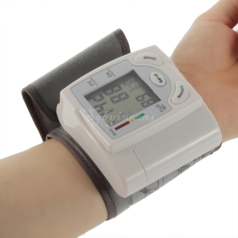 Digital LCD Wrist Blood Pressure Monitor Heart Beat Rate Pulse Meter