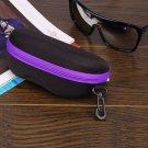 Portable Zipper Eye Glasses Sunglasses Shell Hard Case Protector Box (PURPLE