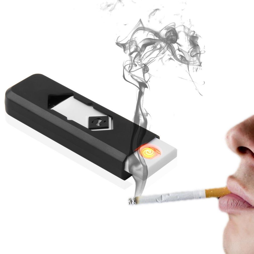 USB Electronic Rechargeable Battery Flameless Cigar Cigarette Lighter Black