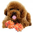 Pet Dog Cat Puppy Color Sound Polka Dot Squeaky Rubber Dumbbell Chewing Toys