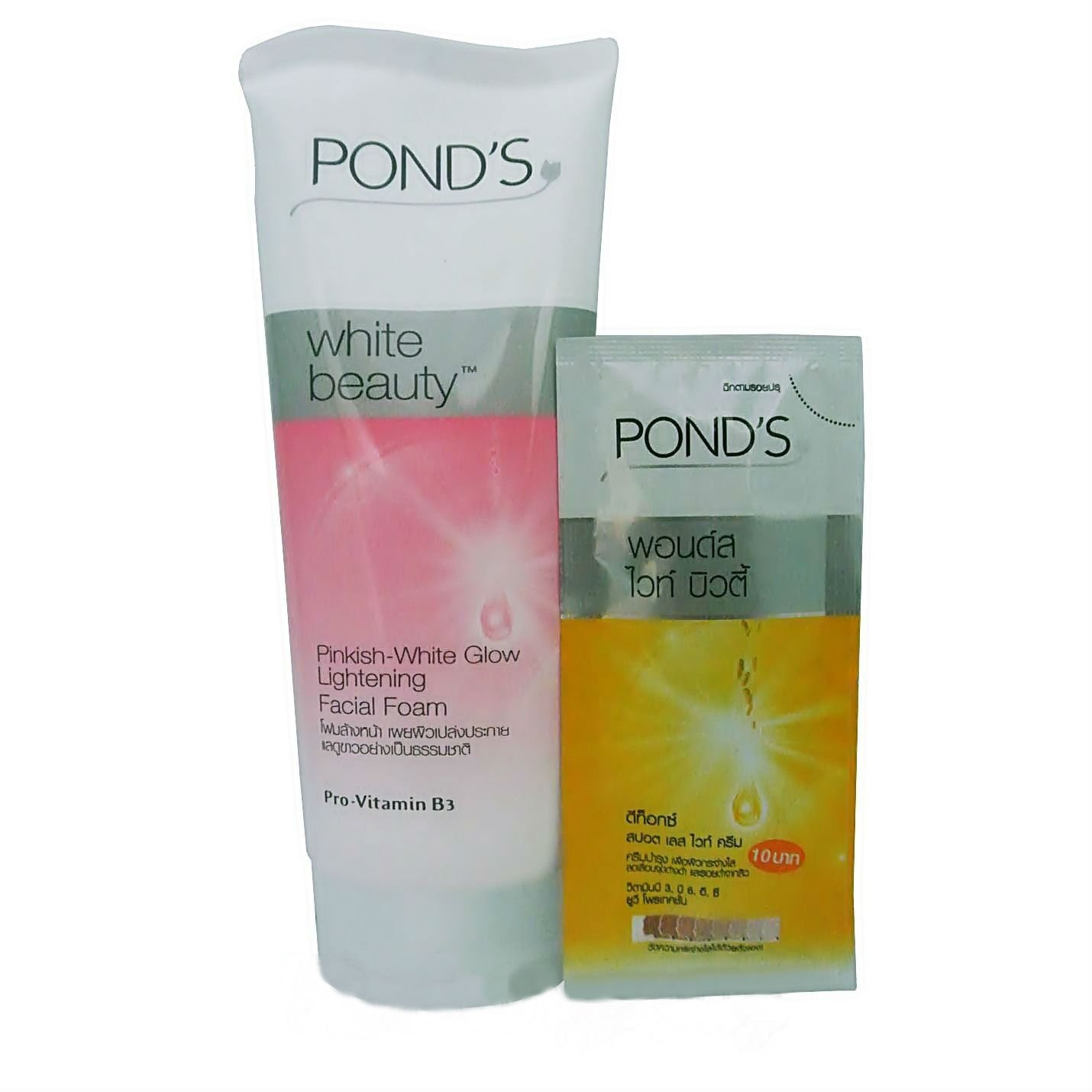 POND'S WHITE BEAUTY PINKISH GLOW LIGHTENING LIGHT FACIAL FOAM and DETOX CREAM