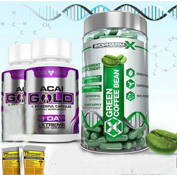 GREEN COFFEE BEAN EXTRACT + 2 ACAI GOLD- STRONGEST SLIMMING / DIET + DETOX PILLS