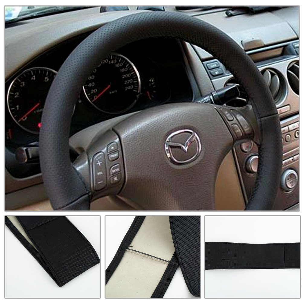 DIY Leather Car Auto Steering Wheel Cover With Needles and Thread Black